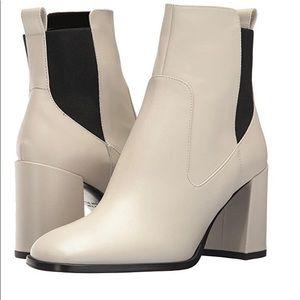 Via Spiga Delaney White Leather Booties Heels 6.5W